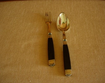 1800's Personal Travel Cutlery Sterling Silver and Ebony (Pair)