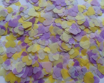 Lavender and Lemon Biodegradable Tissue Paper Confetti Hearts Wedding Party