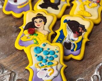 Beauty and the Beast Cookies - Disney cookies, Princess cookies, Disney party favors, Pricess party favors, Belle cookies, Belle favors