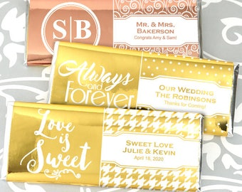 Foil Wedding Favors Chocolate, Personalized Metallic Foil Hershey®'s Milk Chocolate Bars, Chocolate Bar - Set of 24