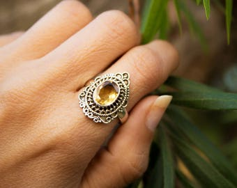 Citrine Ring, Sterling Silver Ring, Gemstone Ring, Yellow Stone Ring, Citrine Jewelry, Novemver Birthstone Ring,Handmade,Silver Citrine Ring