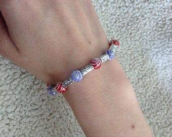 Purple & Red beaded bracelet