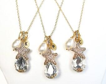 Handmade Crystal Starfish Pendant and Swarovski Pearl Initial Goldtone Bridesmaid Necklace, Destination or Beach Wedding (Sparkle-2203)