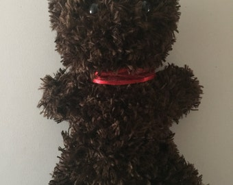 Brown Grizzly Knitted Teddy Bear - Red Ribbon Collar