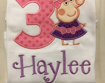 Peppa Pig Birthday Shirt // Peppa Pig Shirt // Girl Birthday Shirt // Monogrammed Birthday Shirt // Peppa Pig 1st First 2nd Second