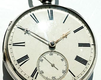 Mid to late 19thC Coventry fusee solid silver pocket watch