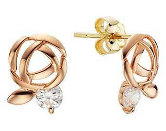 14k Solid Yellow Gold Stud Earrings 7826 Charming Flower Leaf Design Lovely