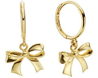 14k Solid Yellow Gold Hoop Earrings Ribbon 6875 Charming Ribbon Design Lovely