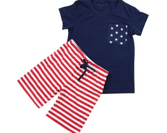 Boys July 4th outfit set Red, White, and Blue