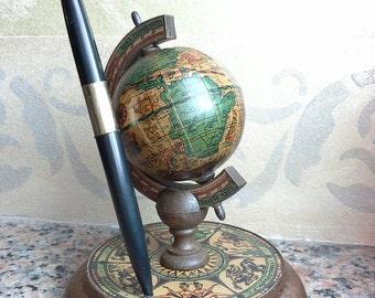 Globe pen holder, Earth Globe, Vintage Miniature Globe, Desk Globe,  Vintage penholder, World Globe, World Map, Ornamental globe