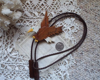 Up- Up And Away.....Stunning Handmade Wooden American Bald Eagle Men's Bolo Tie. Signed NH
