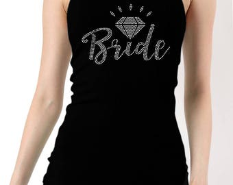 Bride Rhinestones Ribbed Tank Top