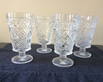 Hazel Atlas Big Top Peanut Butter Glasses, Vintage Pressed Glass Water Glasses, 8 oz. Size, Set of 4, Multiple Sets of 4 Available, PL3597