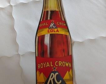 1940's Royal Crown cola bottle cardboard sign
