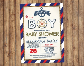 Baby Shower Invitation Boy, Nautical Baby Shower Invitations, Nautical Anchor Shower, Baby Shower Invitation Boy, Ahoy Its A Boy Baby Shower