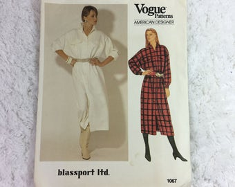 Vogue 1067 Sewing Pattern Misses' Dress Size 8-12 / American Designer / Blassport Ltd. / Bill Blass / Vintage Vogue / front button dress