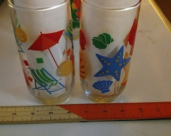 Beach themed Litho printed drinking tumblers. 6 1980's