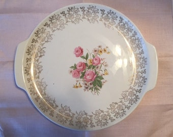 Vintage Pink Rose Platter, French Saxon China, 1940s Round Sandwich Tray
