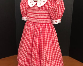Counterchange Smocking decorates This Gingham Dress  Ready to Ship  Size 4(Sizes 1-6  Available Special Order Allow 2-3 Weeks)