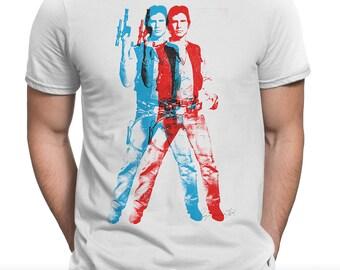 Han Shot First 'Episode II - Stereoscopic' Unisex Mens T-shirt (Andy Warhol Elvis Pop Art Star Wars Parody)