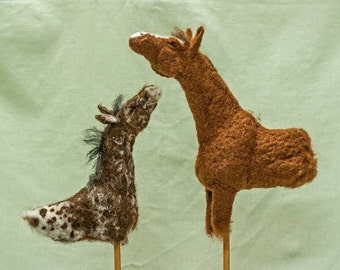 """OOAK mixed media sculpture """"The Odd Couple"""" needle felted horses on a reclaimed wooden base."""