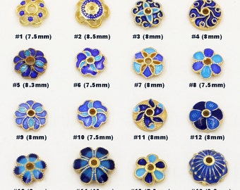 925 Sterling Silver Gold Plated Cloisonne flower Plain Bead Caps (MB005)