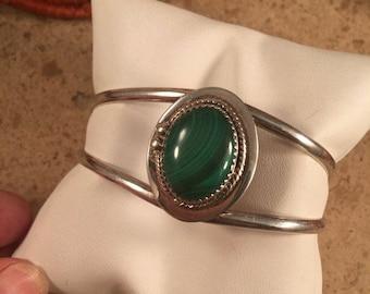 Spring Time Yet Vintage Navajo Sterling Silver & Malachite Cuff Bracelet