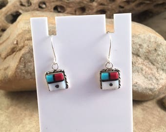 Vintage Zuni Multi Stone and Sterling Silver Inlay Dangle Earrings