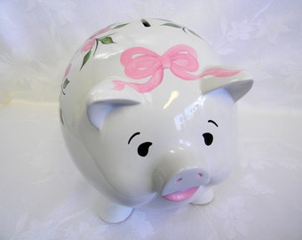 Personalized piggy bank, hand painted piggy bank, piggy bank with roses, piggy bank with bow, nursery decor, childrens piggy bank