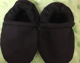 Black Crib Shoes / Black Slippers/ Black Booties