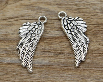 20pcs Wing Charms Bird Wings Charm Antique Silver Tone Charm 12x29mm cf2872