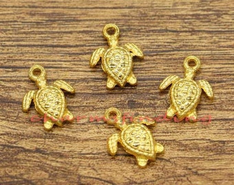 50pcs Turtle Charms Tortoise Charms Animal Charms Gold Plated Tone 17x12mm cf0473
