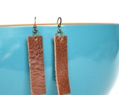 """CYBER MONDAY SPECIAL: Genuine Leather Dangle Earrings -  2 1/2"""" Warm Medium Brown Leather Rectangle Earrings--Joanna Gaines Inspired Leather"""