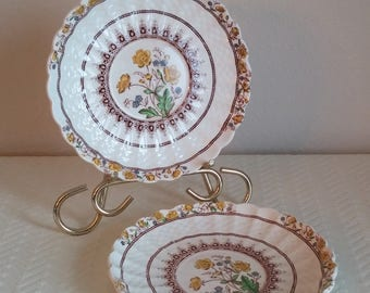 Set of 2 Antique Copeland Spode England Buttercup Saucers, Vintage Floral Saucers, Vintage Dishes