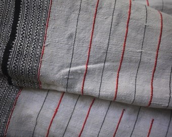 Natural striped recycled hemp/cotton(5.2 m)-Vintage handwoven hemp  cotton mix  traditional striped pattern-recycled fabric from old skirt