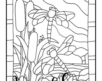 Stained Glass Dragonflies, 1 Adult Coloring Book Page, Printable Instant Download