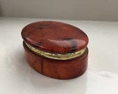 Carved Stone Trinket Box Jewellery Box with Hinged Lid
