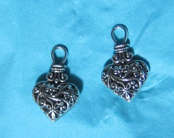 2 pendants, charm, aged silver heart charms