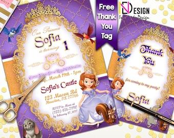 Sofía la primera invitación y libre gracias etiqueta, Sofía la invitación de la princesa, invitación de Sofía, Sofía gracias tarjeta, archivos digitales