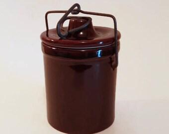 Glazed Stoneware Jar with Wire & Bail Lid