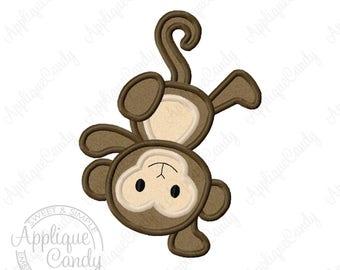 Monkey Applique Machine Embroidery Design 4x4 5x7 6x10 INSTANT DOWNLOAD