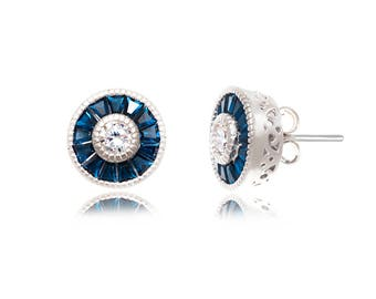 Rhodium plated Sterling Silver Round Blue Spinel Bagette Post Earrings