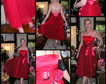90's red hot lace up silk chiffon, duchess satin & tulle couture evening dress by Rhonda Hemmingway Couture - Sydney SIZE: SMALL