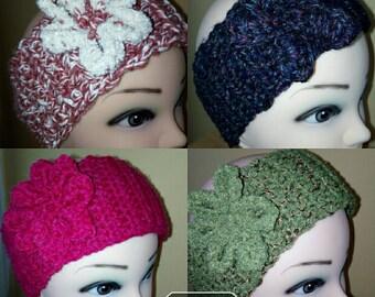 Crochet Headband/Ear Warmer With Flower/ Handmade Headband