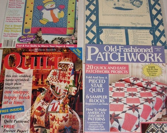 1) Quick and Easy Quilting Magazine.  Quilt Magazine.   Old-Fashioned Patchwork Magazine.  Grandma's Homestead Wall Hanging Kit.