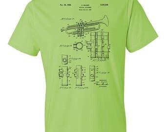 Trumpet T-Shirt Patent Art Gift, Trumpet Patent, Trumpet Design, Trumpeter Gift, Trumpet Player, Music Gift, Musician Gift, Music Teacher