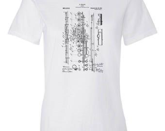 Flute Patent Art Womens T-Shirt, Flute Shirt, Flute Player Gift, Flutist, Musician Gift, Music Teacher Gift, Flute Teacher Gift