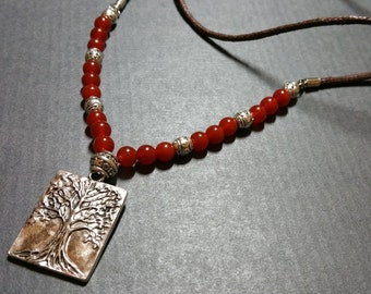 Mens Tree of life necklace Stone Mala necklace man Natural Carnelian Agate beaded rope necklace