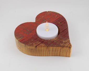 Wooden HeartTea Light Holder, FREE SHIPPING in USA, Rustic, Simple Minimalist Design, Country Decor, Farm House Decor, Mother's Day Gift