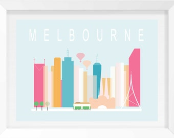 Melbourne City Wall print